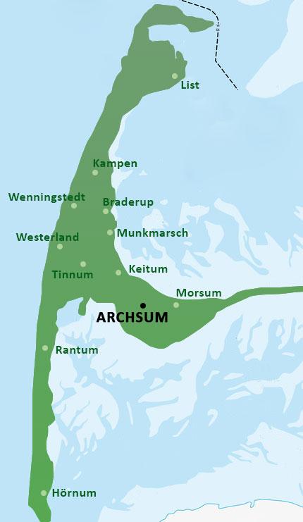 Karte Von Sylt.Archsum Auf Sylt Informationen Auf Sylt Net
